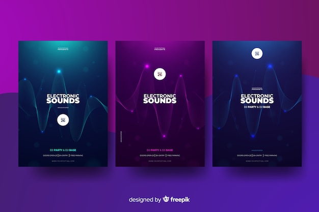 Coleção de cartaz de música eletrônica de som de onda Vetor grátis