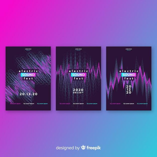 Coleção de cartaz de som wave Vetor grátis