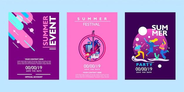 Coleção de cartaz de verão para evento, festival e festa em fundo colorido Vetor Premium