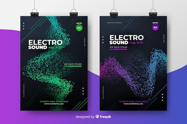 Coleção de cartaz do festival de música eletrônica Vetor grátis