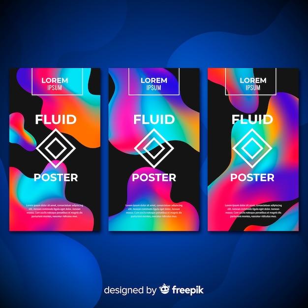 Coleção de cartazes fluidos Vetor grátis