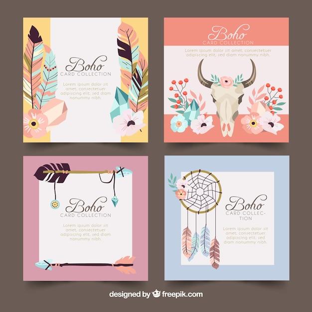 Coleção de cartões boho com elementos hippie Vetor grátis