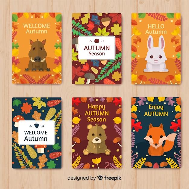 Coleção de cartões coloridos outono em design plano Vetor grátis