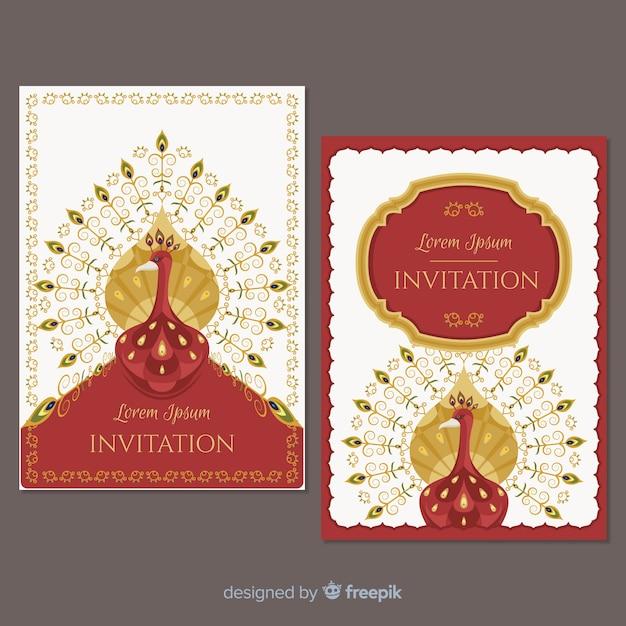 Coleção de cartões com desenhos de pavão criativos Vetor grátis