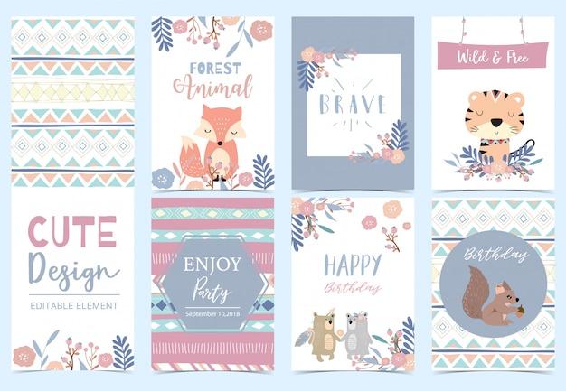 Coleção de cartões da floresta conjunto com raposa, tigre, flor, coroa de flores, ilustração de esquilo para convite de aniversário Vetor Premium
