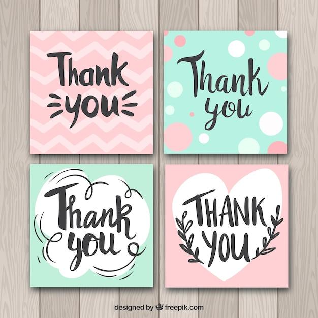 Coleção de cartões de agradecimento verde e rosa agradece-lhe Vetor grátis