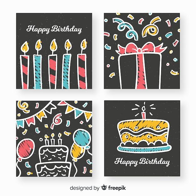 Coleção de cartões de aniversário de quadro-negro Vetor grátis
