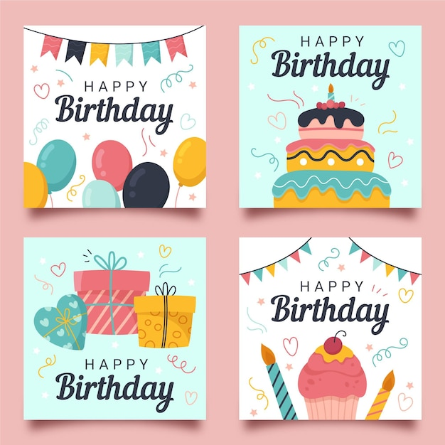 Coleção de cartões de aniversário desenhada à mão Vetor grátis