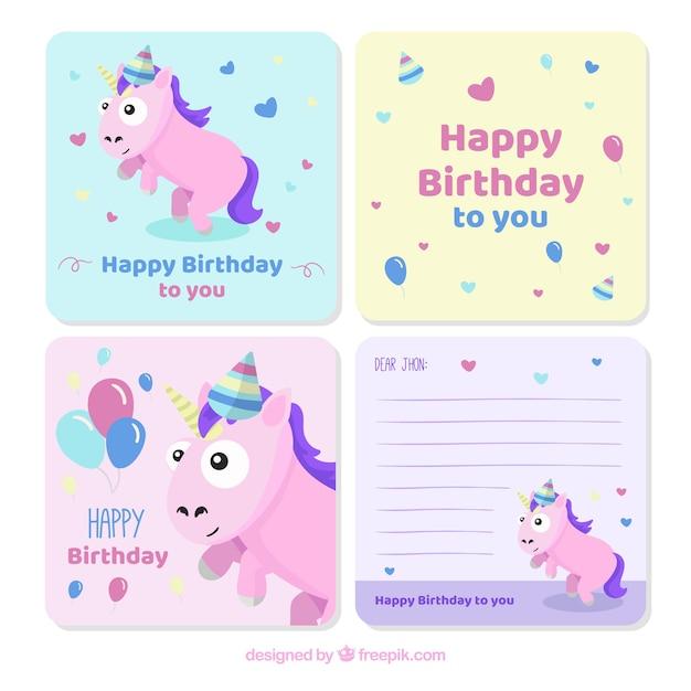 Coleção de cartões de aniversário Vetor grátis