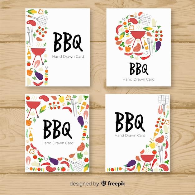 Coleção de cartões de churrasco Vetor grátis