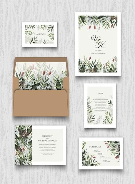 Coleção de cartões de convite floral. Vetor Premium
