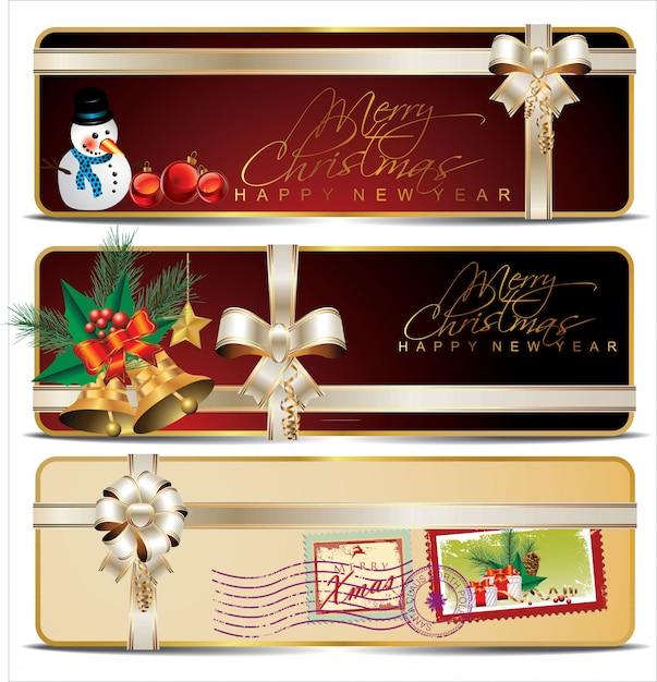 Coleção de cartões de desconto ou de presente com fitas Vetor Premium