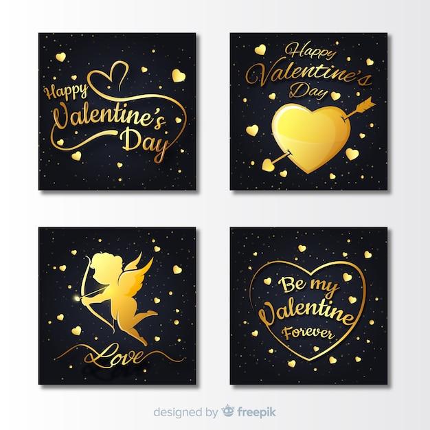 Coleção de cartões de dia dos namorados dourado Vetor grátis