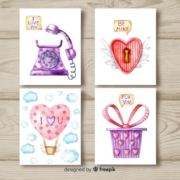Coleção de cartões de dia dos namorados em aquarela Vetor grátis