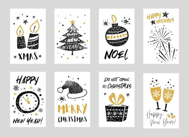 Coleção de cartões de feliz natal e feliz ano novo com elementos decorativos Vetor Premium
