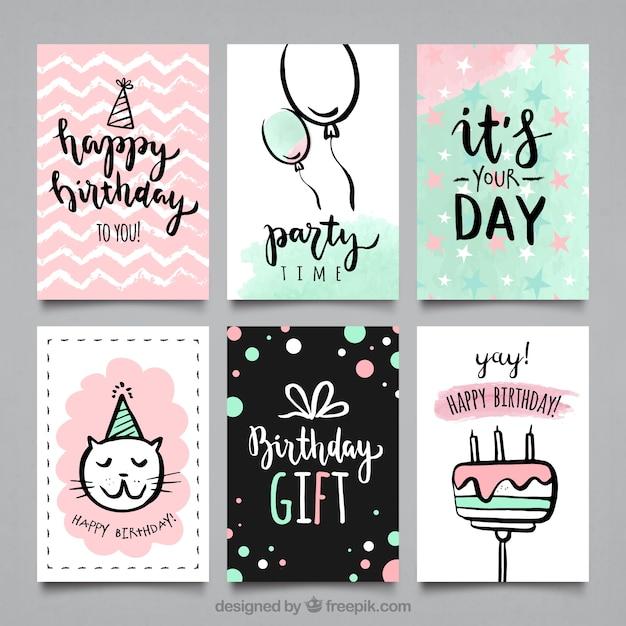 Coleção de cartões de festa bithday da cor da água Vetor grátis