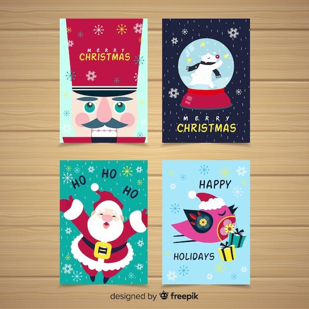 Coleção de cartões de natal colorido Vetor grátis
