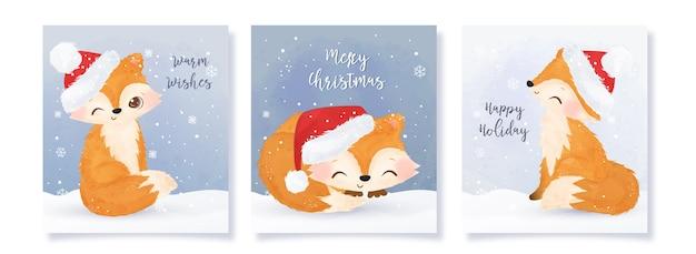 Coleção de cartões de natal com adoráveis raposas Vetor Premium