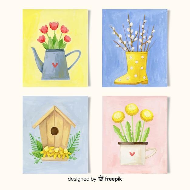 Coleção de cartões de primavera em aquarela Vetor grátis