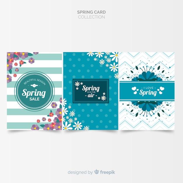 Coleção de cartões de primavera impressos Vetor grátis