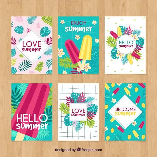 Coleção de cartões de verão com sorvetes Vetor grátis