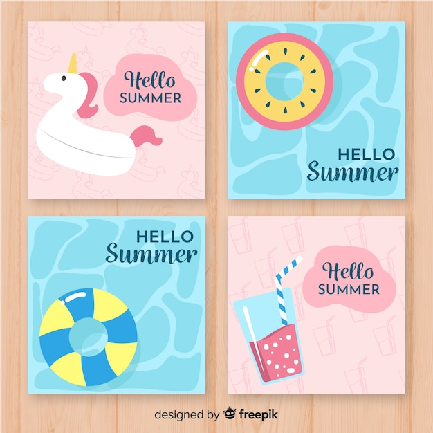 Coleção de cartões de verão Vetor grátis