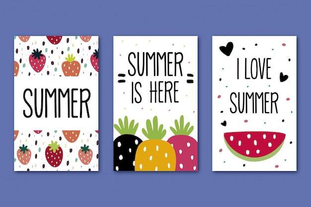 Coleção de cartões de verão Vetor Premium