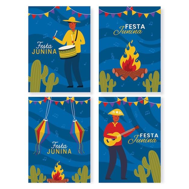 Coleção de cartões festa junina mão desenhada Vetor grátis