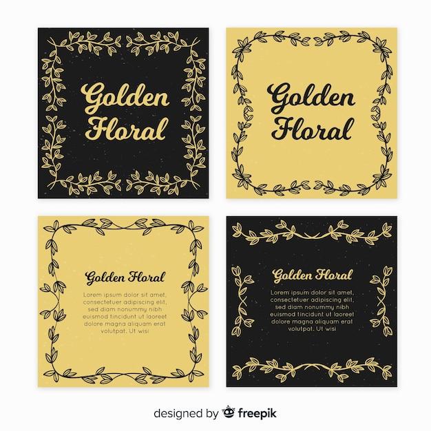 Coleção de cartões florais dourados Vetor grátis
