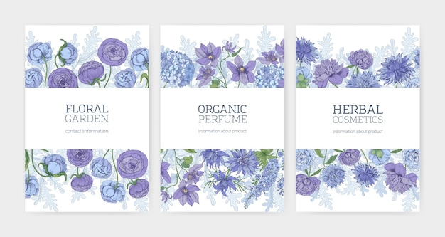 Coleção de cartões florais ou modelos de panfleto para cosméticos à base de plantas e promoção de perfume orgânico natural decorado com flores desabrochando azuis e roxas e plantas com flores. Vetor Premium