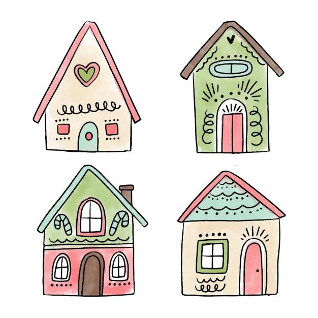 Coleção de casa de gengibre desenhada de mão Vetor Premium