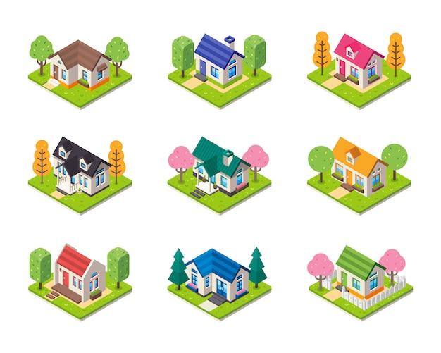 Coleção de casa isométrica em tipo diferente. conjunto de edifícios isométricos. Vetor Premium