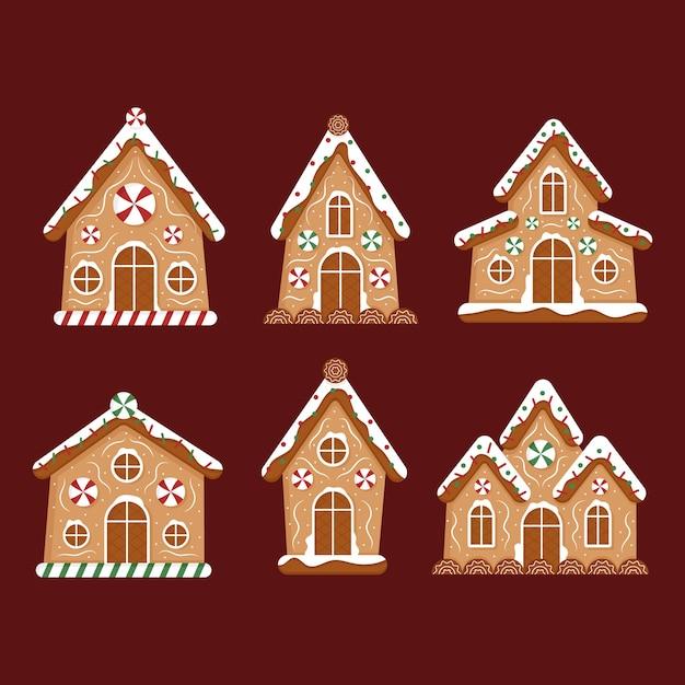 Coleção de casa plana de gengibre Vetor grátis