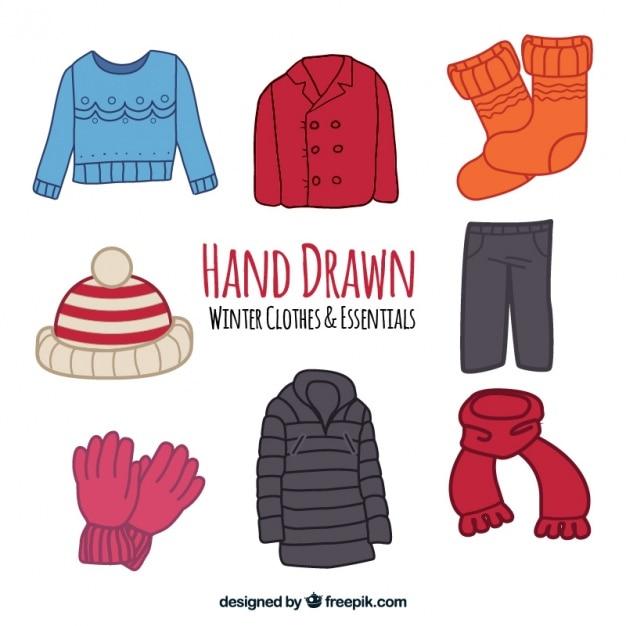 Coleção de casacos de inverno e elementos desenhados à mão Vetor grátis