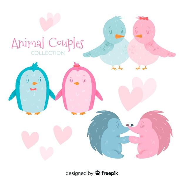 Coleção de casais animais dia dos namorados Vetor grátis