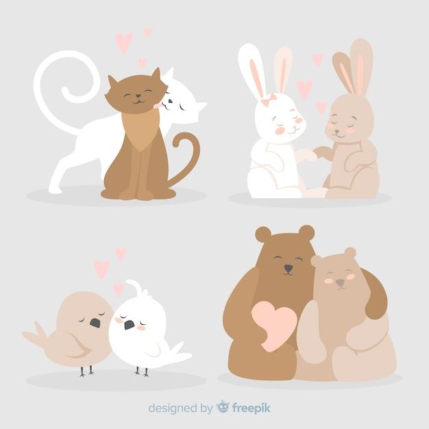 Coleção de casais animal bonito para dia dos namorados Vetor grátis