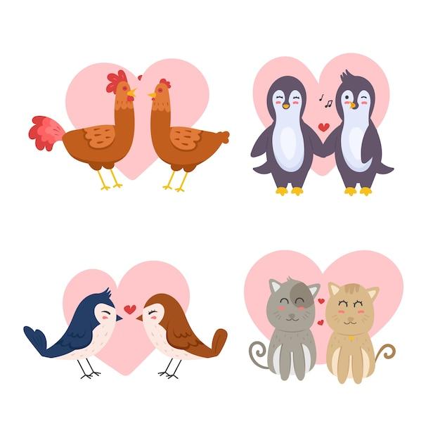Coleção de casal animal dia dos namorados na mão desenhada Vetor grátis