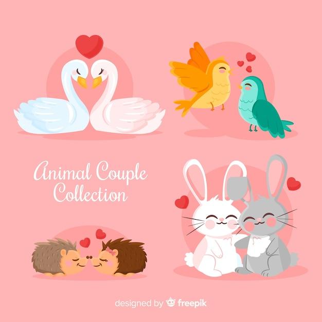 Coleção de casal animal fofo dia dos namorados Vetor grátis