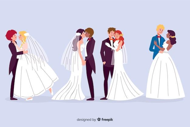 Coleção de casal casamento mão desenhada Vetor grátis