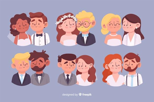 Coleção de casal casamento mão desenhada Vetor Premium