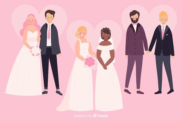 Coleção de casal casamento plana Vetor grátis