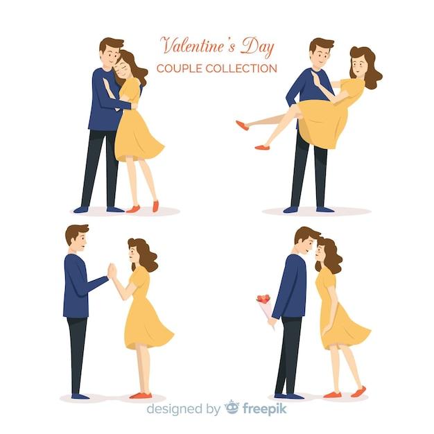 Coleção de casal de dia dos namorados Vetor grátis