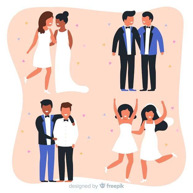 Coleção de casal de noivos em design plano Vetor grátis