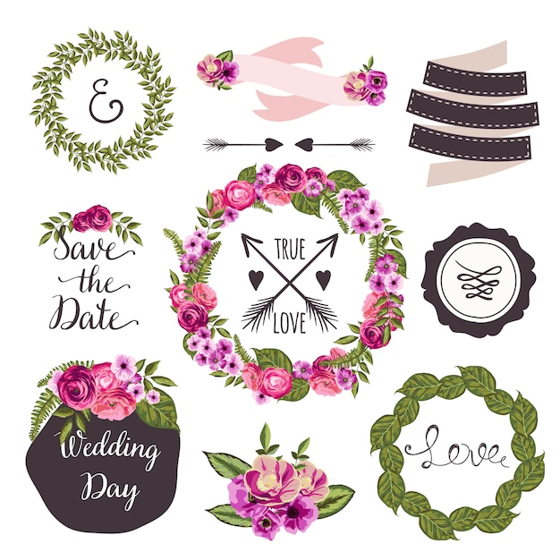 Coleção de casamento com flores desenhadas à mão e plantas Vetor Premium