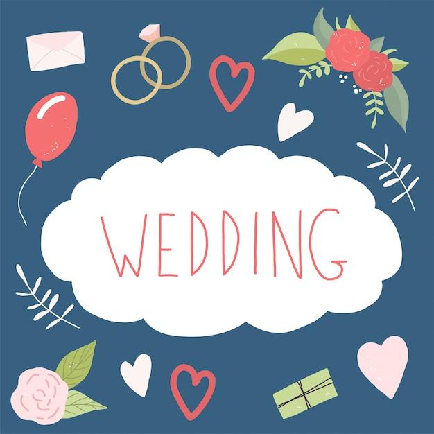 Coleção de casamento decorativo. conjunto de casamento de flores de amor Vetor Premium
