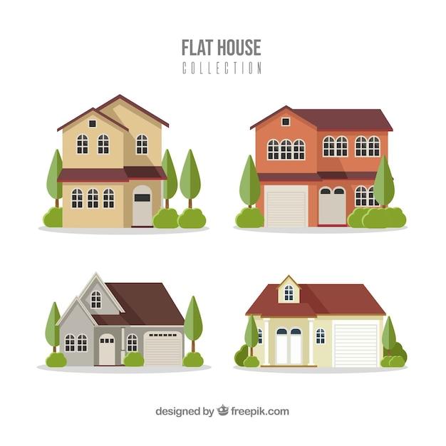 Coleção de casas residenciais em estilo simples Vetor grátis