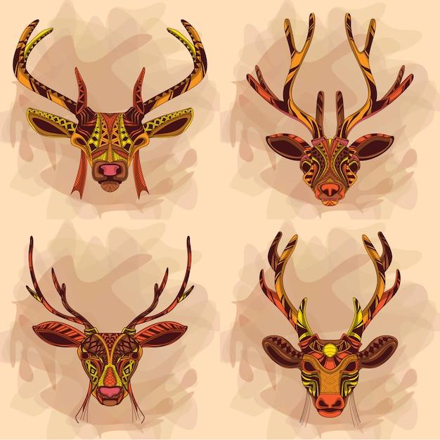 Coleção de cervos Vetor Premium