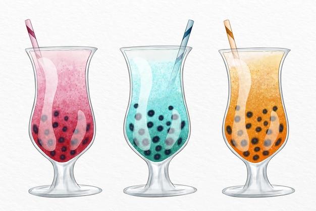 Coleção de chá de bolha com design desenhado à mão Vetor grátis