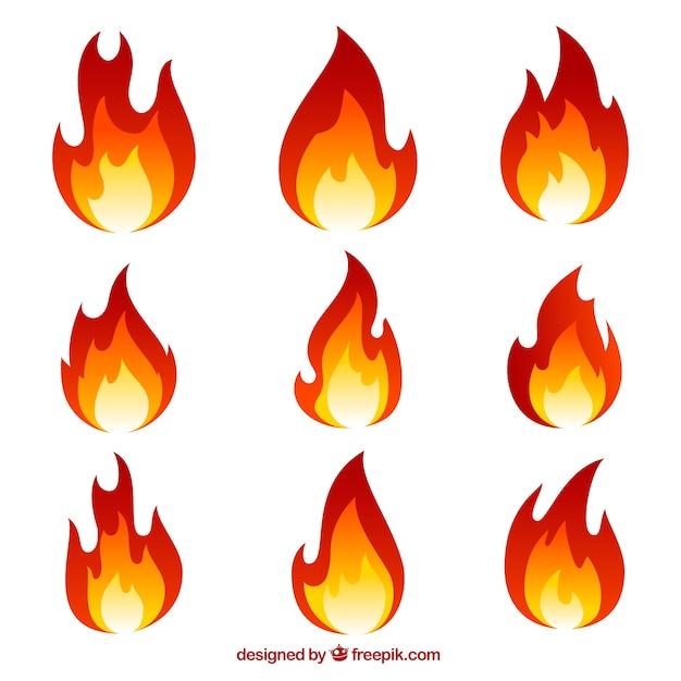 Coleção de chamas Vetor grátis