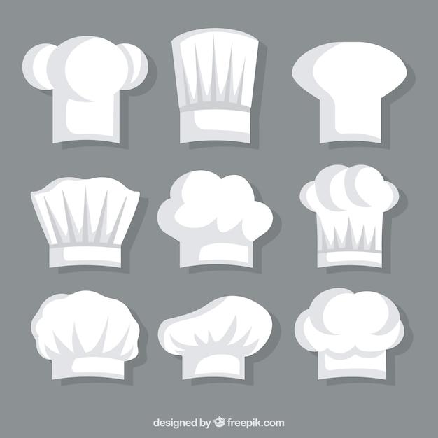 Coleção de chapéu branco do chef Vetor grátis